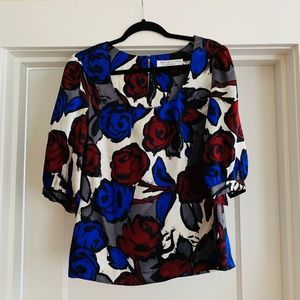 Trina Turk Silk Floral Print Blouse M